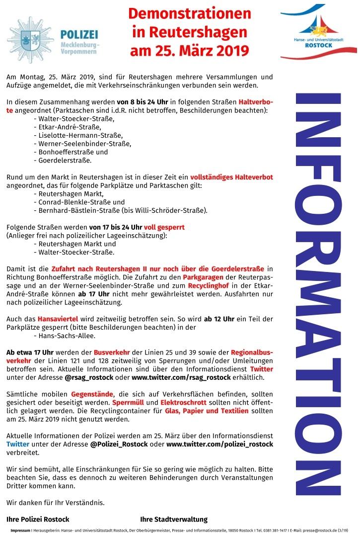 Inforamtionsschreiben Demonstrion am 25.03.2019 in Rostock - Reutershagen