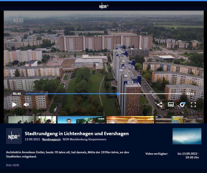 """NDR-Beitrag im Nordmagazin """"Stadtrundgang in Lichtenhagen und Evershagen"""""""
